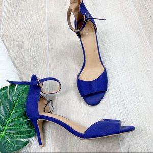 H&M Blue Open Toe Slingback Heels Pumps C3452